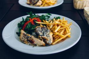 pan-fried chicken in mushroom sauce